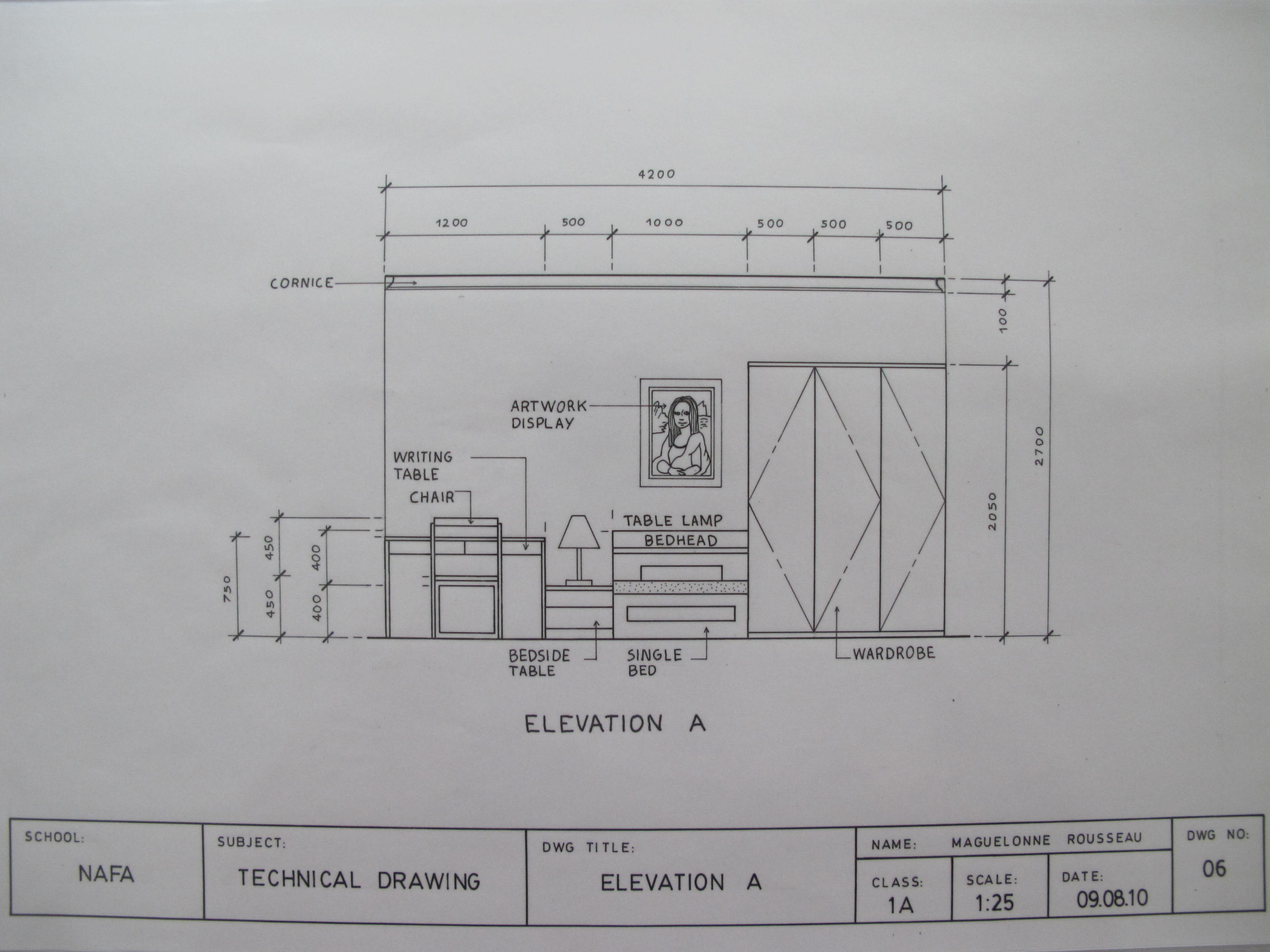 Bedroom Layout Plan Elevation A Sectional Elevation B B